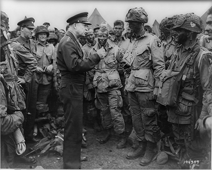 Eisenhower talks to the troops