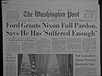 Newspaper Headline Ford pardens Nixon