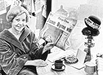 Jane Byrne reading Jane Byrne Wins! Newspaper headline