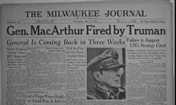Newspaper Headline MacArthur fired by Truman
