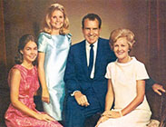 President Nixon with his wife and family