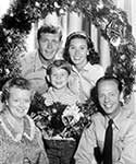 Aunt Bee, Barney Fife, Opie Taylor, Ellie Walker characters in the Andy Griffith Show Christmas photo